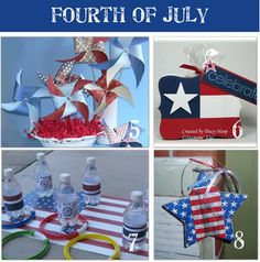 4th of July Home Decor    5.  Fourth of July pinwheel centerpiece tutorial   6.  Flag Party Favor   7.  4th of July ring toss   8.  Fourth of July hanging star tutorial made out of a napkin