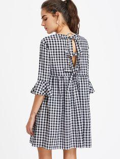 Bow Tie Open Back Fluted Sleeve High Waist Gingham Dress -SheIn(Sheinside)