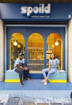 Cafe Shop Design, Cafe Interior Design, Retail Interior, Store Design, Thailand Restaurant, Yellow Ceiling, Arched Doors, Memphis Design, Blue Tiles