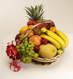 Assorted Fruit Basket  (6 Kgs Fruits )  This traditional fruit basket comes with a variety of selected seasonal fruits full of vitamins such as crispy apples, melons , bunch of bananas, red plums, juicy oranges, peaches, seedless grapes, pears and much more.( 6 kgs fruits)