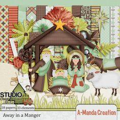 The Studio's Annual Christmas Carol Blog Hop, A-Manda Creation free kit Away in a Manger