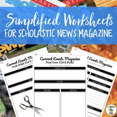 Differentiated and simplified worksheets for scholastic news magazine! Cut and Paste worksheet as well! Reading Resources, Teaching Reading, Life Skills Activities, Language Activities, Reading Workshop, Reading Logs, 5th Grade Worksheets, Reading Assessment, Receptive Language