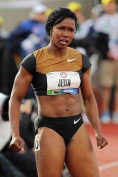 Carmelita Jeter. Fastest woman I've ever seen. Yet still very humble