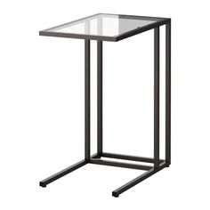 IKEA VITTSJÖ Laptop stand Black-brown/glass 35 x 65 cm Made of tempered glass and metal, hardwearing materials that give an open, airy feel. Brown Decor, Black Decor, New Living Room, Small Living Rooms, Ikea Hallway, Ikea Side Table, Table Desk, Ikea Decor, Living Room Decor Colors