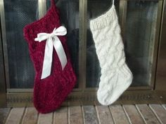 """Basic Sock"" Christmas Stocking w/ Satin Bow"