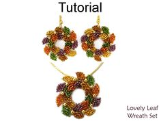 Christmas Holiday Beading Tutorial - Earrings and Necklace - Brick Stitch - Simple Bead Patterns - Lovely Leaf Wreath Set #16575 by SimpleBeadPatterns on Etsy https://www.etsy.com/listing/257736225/christmas-holiday-beading-tutorial