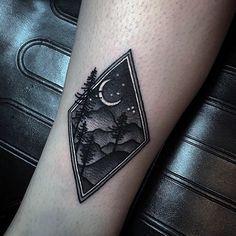 Night Sky Forest Guys Small Nature Leg Tattoo