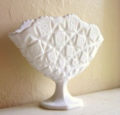 Westmoreland Milk Glass Flat Vase