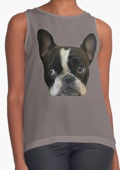 Cute photograph of a beautiful and happy french bulldog frenchie puppy, one of our best friends ever and most famous dog breeds, on woman's sleeveles top! Find it on kid's fashion, room and home decoration, and many more... |art|black Fashion Room, Kids Fashion, Women's Fashion, Famous Dogs, Womens Sleeveless Tops, White Terrier, Westies, Funny Dogs, Dog Breeds