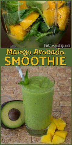 Mango Avocado Smoothie - this dairy free smoothie is made with only 5 ingredients. It is a tasty green smoothie that makes a healthy snack or St. Mango Avocado Smoothie - this dairy free smoothie is made with only 5 ingredients. Smoothie Prep, Smoothie Bowl Vegan, Green Detox Smoothie, Easy Smoothies, Green Smoothie Recipes, Smoothie Drinks, Smoothie Cleanse, Avocado Mango Smoothie, Diet Drinks