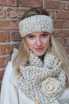 Cream Knitted Headband Cowl and Brooch by BglorifiedBoutique,
