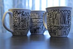 Mugs with handwriting - I love these with Harry Potter words! so cute