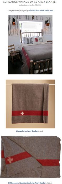 COPY CAT CHIC FIND: Sundance Vintage Swiss Army Blanket vs. G8Gear's Reproduction Swiss Army Blanket