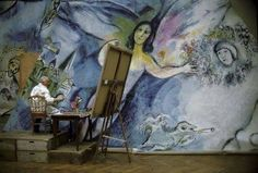 Marc Chagall painting Mozart's Angel, by the photographer Izis, 1964