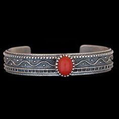 Navajo Tufa Cast Sterling Silver Coral Cuff Bracelet - Harrison Jim (#03)