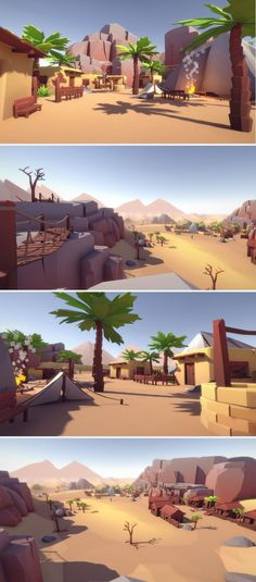 Lowpoly Style Desert Pack Build your own Desert or WildWest levels and landscapes with this asset pack! The demoscene is also included, everything has a fitting collider - just drag'n'drop the assets to your level. The pack contains a lot of assets: Plan Desert Environment, Game Environment, Environment Concept Art, Environment Design, Game Level Design, 3d Cinema, Gfx Design, Plant Texture, Low Poly Games