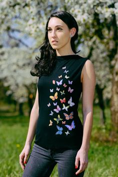 Items similar to Butterflies luxury design boat neck top, black top with colorful butterflies, summer designer top, original made to order posh classy tank on Etsy Dress Painting, T Shirt Painting, Fabric Paint Shirt, Simple Kurta Designs, Boat Neck Tops, Painted Clothes, Embroidery Fashion, T Shirt Diy, Indian Designer Wear