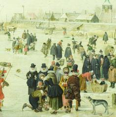 Winter Scene on a Frozen Canal (detail), 1610–1620, by Hendrick Avercamp. Oil on wood.