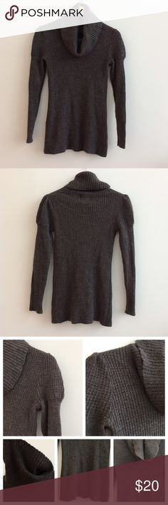 """🌺NEW LISTING Cowl Neck Sweater Size S🌺 Dark taupe/pewter color, cowl neck sweater by Even Design History size small. Perfect for chilly days/nights!!!  50% Acrylic, 30% Wool, 20% Nylon.   Approximate measurements:   Bust = 30"""" Sleeve = 24"""" Length = 25.5""""   In good condition. Open to offers. Thanks! Even Design History Sweaters Cowl & Turtlenecks"""
