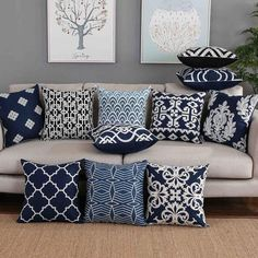 Design Living Room, Living Room Decor, Moodboard Interior, Blue Cushion Covers, Trendy Home Decor, Blue Cushions, Velvet Cushions, Embroidered Cushions, White Embroidery
