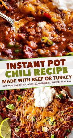 ) - The Chunky Chef - Rich hearty chili, made with beef or turkey! Since it's made in the Instant Pot, it tastes like it simmered for hours – yet it's ready in 40 minutes! Chili Recipes, Soup Recipes, Chicken Recipes, Cooking Recipes, Yummy Recipes, Recipies, Instant Pot Pressure Cooker, Pressure Cooker Recipes, Quick Easy Dinner