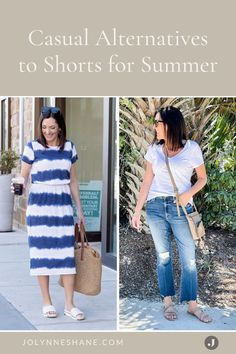 Don't like shorts? Here's what to wear instead. I rounded up a bunch of casual alternatives to shorts for you to consider this summer! There are some great fashion tips and tricks in this post for women over 40 that prefer to have more wardrobe options for the spring and summer. Fashion Over 40, Fashion Tips, Night Looks, Summer Shorts, Everyday Outfits, Pretty Dresses, Spring Outfits, Work Wear, What To Wear