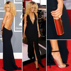 Rihanna wearing an insanely amazing low-cut front and back black Giorgio Armani Gown with pointy cap toed heels at the 2012 Grammys