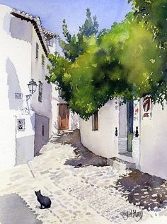 Rincon Del Gato by Margaret Merry Watercolor painting of street with white houses and cat Watercolor Architecture, Watercolor Landscape Paintings, Watercolor Trees, Watercolor Background, Abstract Watercolor, Watercolor Illustration, Landscape Art, Simple Watercolor, Tattoo Watercolor