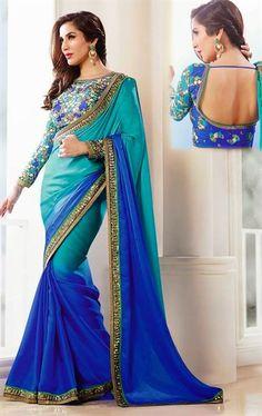 Ideal Blue Color Georgette Designer Saree