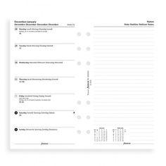 Filofax Personal Kalendereinlage 2017 1 Woche auf 1 Seiten + Notizseite Weiß Multilingual