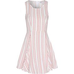 White And Orange Stripe Skater Dress (56 CAD) ❤ liked on Polyvore featuring dresses, orange, sleeveless dress, white cut out dress, striped dress, white sleeveless dress and racerback dress
