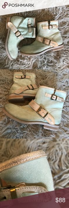 Sundance Mint & Fold Leather Booties Do show some slight wear, but adds character to these beauties! These were make to look worn and the leather is BUTTER soft! Definitely made for compliments, so unique with great details. Shoes Ankle Boots & Booties