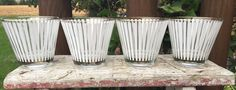 4 white striped heavy tumblers 1950 era old by polkadotsandcurls