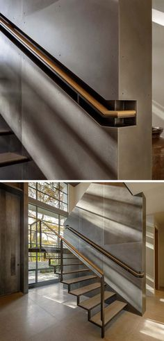 Stair Design Ideas - 9 Examples Of Built-In Handrails // This wood and steel handrail is built into a section of the wall for a more industrial look. Stair Design Idea – 9 Examples Of Built-In Handrails Daniel Hahn hahndanielmd Interior Design Stai Staircase Handrail, Steel Handrail, Steel Stairs, Stair Railing, Wood Stairs, Staircase Glass, Handrail Ideas, Stair Idea, Concrete Staircase