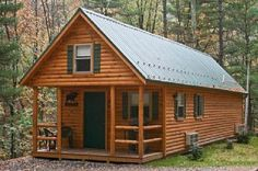 Adirondack Log Cabin | Zook Cabins... 14'x36' (410 sf) - also available in 16'x48' (658 sf). Pre-fab. Site also has financial information on the viability of a rental.