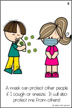Wearing A Mask Story for Children by Autism Little Learners Classroom Rules, Preschool Classroom, In Kindergarten, Beginning Of The School Year, First Day Of School, Preschool Learning Activities, Little Learners, Social Stories, Social Skills