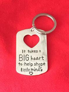 "Super cute Teacher Gift Idea. Teacher appreciation gift idea. Valentines Day Teacher Gift. Christmas Gift Teacher. These measure 2"" plus the key ring. It will come in a white organza gift bag."