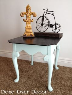 Done Over Decor: 2 Toned Refinished End Table- I like the white with a dark cappuchino finish