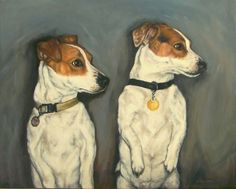 """""""Oliver and Trinny"""" Oil on canvas, 11"""" x 14"""". What a cute pair to paint! I couldn't help but remember this commissioned painting. They were adorable in their standing poses."""