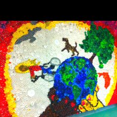 Bottle cap mural at my school done by students and our fabulous artist/art teacher.