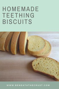 homemade teething toast (zwieback) — Beneath the Crust Baby Food Recipes, Bread Recipes, Baby Teething Biscuits, Baby Foods, I Want To Eat, Crackers, Breads, Deserts, Homemade