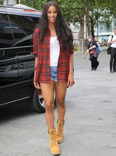 Leggy display: Ciara donned a look that was sure to send some jaws dropping in a pair of tiny denim hotpants and a checked flannel shirt as she arrived at Capital FM studios in London on Monday Timberland Outfits, Timberland Style, Timberland Boots, Timberland Fashion, Ciara Style, Shorts Boyfriend, How To Wear Timberlands, Celebridades Fashion, Ciara And Russell Wilson