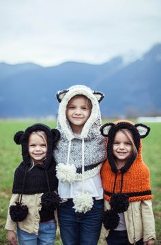 Hooded Animal Cowls: Bear, Wolf, and Fox pictured.
