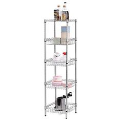 LANGRIA 5Tier Wire Shelving Unit with Baskets FreeStanding Storage Organization Utility Rack for Home Kitchen Living Room Bedroom Bathroom Laundry Office 165 lbs Capacity Silver * More info could be found at the image url.