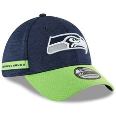 info for 05ce9 35638 Seattle Seahawks New Era 2018 NFL Sideline Home Official 39THIRTY Flex Hat  Navy Neon Green