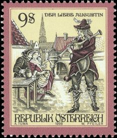 """A great looking little stamp from 1998, done in an early style, very nicely engraved: This is from a series of stamps depicting """"Tales and Legends of Austria."""""""