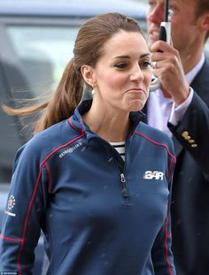 The Duchess of Cambridge appears downcast after the sailing race is cancelled due to inclement weather