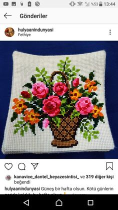 Cross Stitch Fruit, Cross Stitch Rose, Cross Stitch Flowers, Embroidery Applique, Embroidery Patterns, Cross Stitch Patterns, Cross Stitch Landscape, Crochet Bedspread, Stylish Dresses For Girls