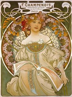 Alphonse Mucha (1860-1939) Reverie (1898) color lithograph on paper 21-3/4″ x 28-2/5″ An 1898 poster advertising Mucha's primary printer and lithographer Ferdinand Champenois, of 66...