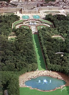 Aerial View of Versailles and the Park- in 1976, all the fountains were turned off because of a severe drought!! It was over 100 degrees! The Louvre also closed certain areas because of the heat. We went again in 1980 by Eururail Pass, 1984 by car , 1999 in car with Malcolm, Mac and Ruthie!